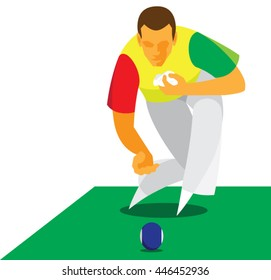 The young athlete playing in  the traditional British game lawn bowls