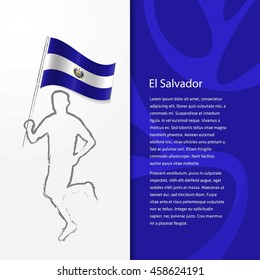 Young athlete running with holding El Salvador Flag with typography background. Athlete with Country flag running in Rio olympics background
