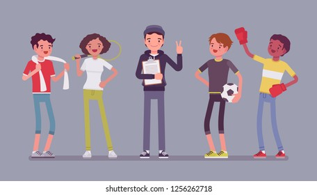 Young athletes, professional sporty people and male coach. Sportsmen and instructor, teaching healthy life, to improve at sport skills, to win, get achievements. Vector flat style cartoon illustration