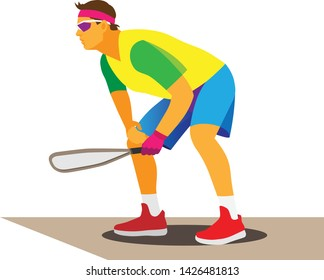 young athletic man in glasses and a yellow t-shirt is a racquetball player on the court