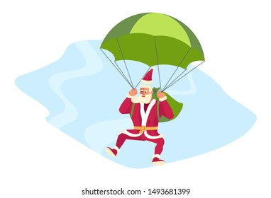 Young athletic Santa Claus parachuting and brings gifts to children all over the world concept. Christmas is everywhere. Flat Art Vector illustration