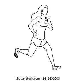 young athletic woman running character