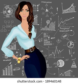 Young attractive business woman against the doodle style charts diagram patterned background vector illustration