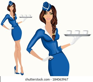Young attractive long legged flight attendant stewardess standing with drinks vector illustration