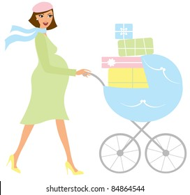 Young attractive pregnant woman with a blue baby carrier full of presents