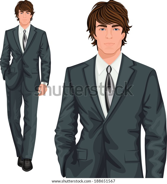 Young attractive professional businessman elegantly dressed in formal one button suit vector illustration