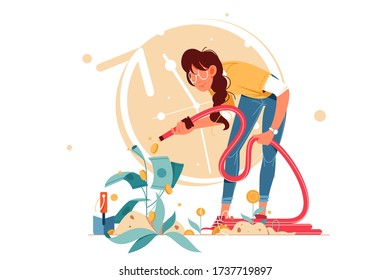 Young attractive smiling successful woman shower coins investments. Concept female businesswoman character caring for growing cash plant. Vector illustration.