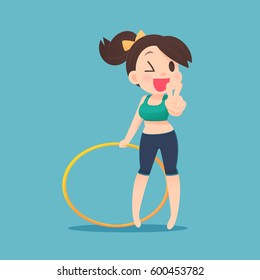 Young attractive woman holding hula hoop, Cartoon illustration