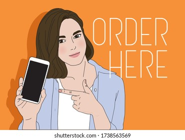 Young attractive woman is pointing on blank screen of phone in her hand and looks into a camera. Hand drawn vector. Order online.