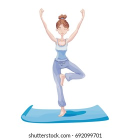 Young attractive woman practicing yoga, standing on one leg. Vrikshasana exercise, Tree pose. Vector illustration, isolated on white background.