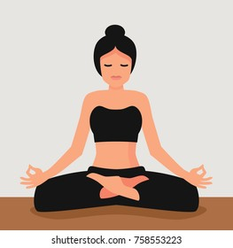 Young attractive woman practicing yoga. Lotus pose vector