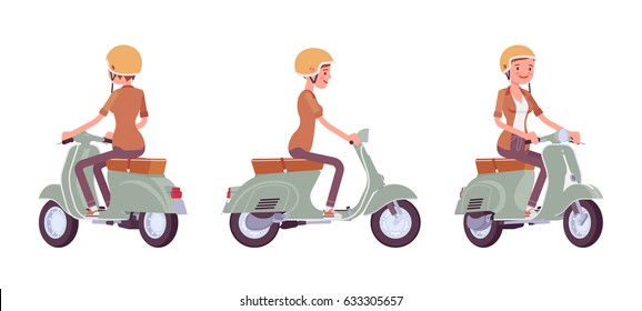 Young attractive woman riding a scooter, wearing helmet, popular city vehicle, exciting outdoor adventure, vector flat style cartoon illustration, isolated on white background, front, side, rear view