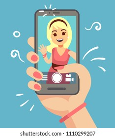 Young attractive woman taking selfie photo on smartphone outdoor. Beautiful girl portrait on phone screen. Cartoon vector illustration of woman selfie on smart phone