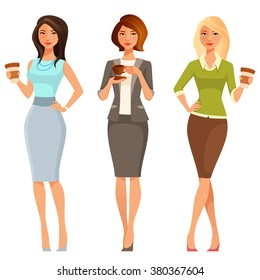 young attractive women in smart casual clothes, with coffee