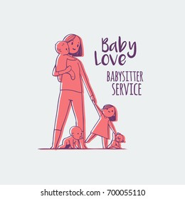 young babysitter holding baby, hand drawn doodles logo. isolated vector illustration.