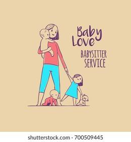 young babysitter holding baby hand drawn doodles illustration logo