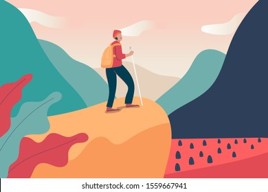 young backpacker man climbing on the top of peak hill mountain cliff alone and looking on far away sky, traveler travel outdoor on holiday trip. cartoon character flat vector illustration design.