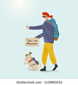 Young backpacking adventurous woman with a dog and hitchhiking on the road. Cartoon and Illustration vector