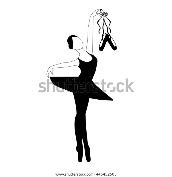 Young Ballerina Ballet Shoes Silhouette Ballerina Stock
