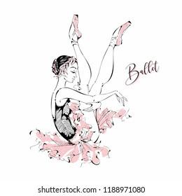 Young ballerina. Dancer. Ballet.   Graphics. Vector illustration.