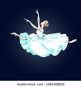 A Young Ballerina. Freehand Drawing of a Ballet Dancer Girl. Vector Illustration of a Dancing Woman. Sketch of a Dancing Jump. Classical Choreography Style. Free Hand Draw. Realistic Style.