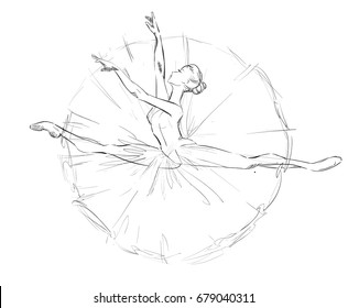 A Young Ballerina. Freehand Drawing of a Ballet Dancer Girl. Vector Illustration of a Dancing Woman. Monochrome Sketch of a Dancing Jump. Classical Choreography Style. Free Hand Draw. Realistic Style.