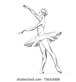 A Young Ballerina. Freehand Drawing of a Ballet Dancer Girl. Vector Illustration of a Dancing Woman. Monochrome Sketch of a Dancing Jump. Classical Choreography Style. Young Lady. Realistic Style.