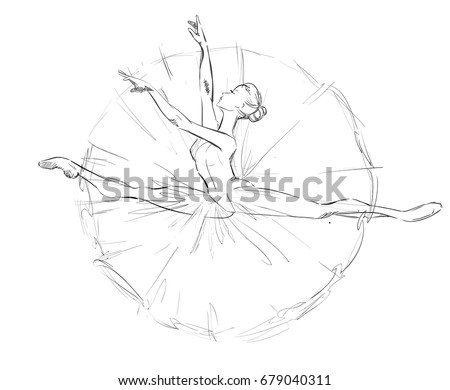 Young Ballerina Freehand Drawing Ballet Dancer Stock Vector Royalty