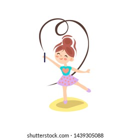 Young ballerina in motion. Rhythmic gymnastics. Teenage sport, healthy teen lifestyle. Pretty girl with flying ribbons, dance on white background, ballet concept, cartoon vector illustration