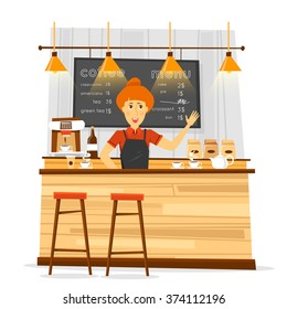 Young bari sta woman and coffee bar. Flat vector illustration.