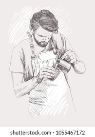 Young barista man. Vector illustration in pencil style. Linear sketch of a man in a coffee bar. Coffee concept. Restaurant concept.