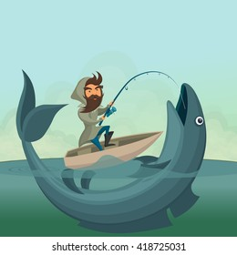 Fisherman Cartoon Big Fish Images Stock Photos Vectors Shutterstock