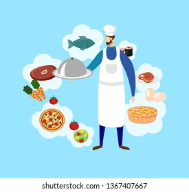Young Bearded Male Chef in Toque and Apron Holding in Hands Tray with Dish Under Silver Cloche Lid on Blue Background with Food Icons Around. Menu, Meat, Fish, Pizza. Cartoon Flat Vector Illustration.