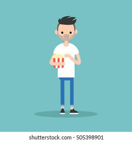 young bearded man chewing popcorn / full length character. flat vector cartoon.
