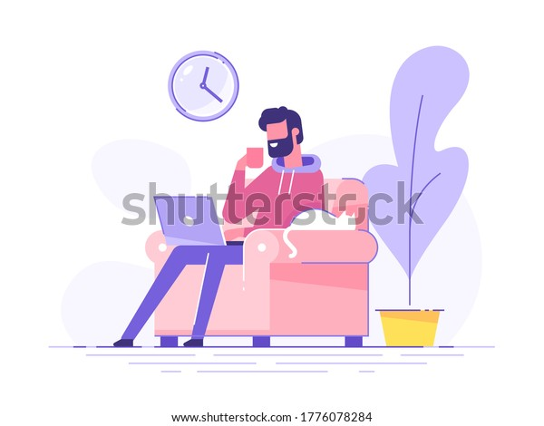 Young bearded man is working at home and drinking coffee. Cozy room interior. Freelance and teleworking concept. Modern vector illustration.
