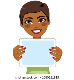 Young beautiful African American woman holding tablet