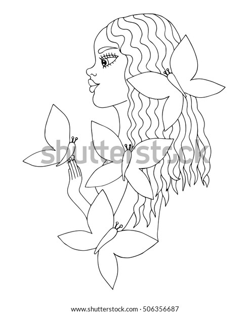 - Young Beautiful Afro American Girl Butterfly Stock Vector (Royalty Free)  506356687