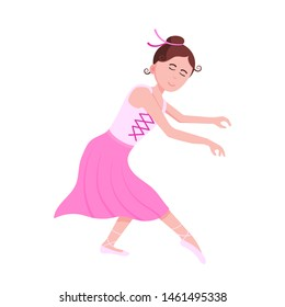 Young beautiful ballerina dressed in tutu and pointe shoes standing at the pose flat style design vector illustration isolated on white background, Elegant young female character of classic ballet.