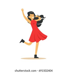 Young beautiful brunette girl in red dress with microphone performing a song vector Illustration