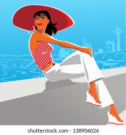 Young beautiful brunette woman in a 1950s style outfit: white pants, polka dot top and wide rim red hat sitting on the parapet in front of the view to Niagara falls, vector illustration
