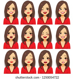 Young beautiful brunette woman with twelve different facial expressions