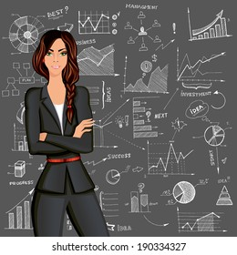 Young beautiful business woman against the doodle style charts diagram background in formal suit vector illustration