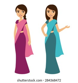 Young beautiful cartoon style Indian woman in traditional clothes isolated on white background. Two poses and color options.