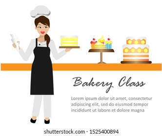 Young beautiful chef woman in uniform with smiling face is decorating her cake in kitchen. Isolated on white background with copy space. Vector Illustration. Idea for cooking, culinary school business