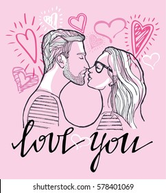 Young beautiful couple. Man and woman. Love. Valentine's Day. I love you. Hand lettering calligraphy. vector illustration
