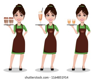 Young beautiful female barista in professional uniform, set of three poses. Cute cartoon character holding tray with coffee. Vector illustration.