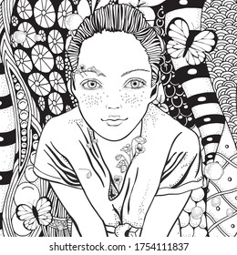 Young beautiful girl and flowers. Zentangle style. Black and white doodle coloring book page for adult and children.