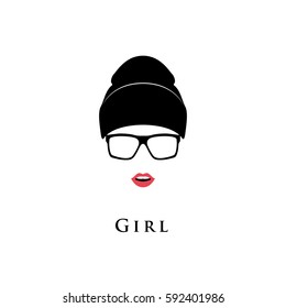 Young beautiful girl. Glasses, hat and with lipstick on a white background. Black and white vector illustration.