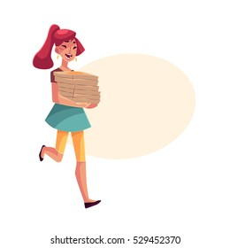 Young beautiful girl hurrying to party with a stack of pizza boxes, cartoon vector illustration isolated with space for text. Young woman running to party with pizza boxes