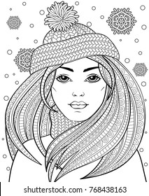 Young beautiful girl with long hair in knitted hat. Tattoo or adult antistress coloring page. Black and white hand drawn doodle for coloring book